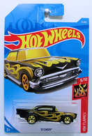 '57 Chevy | Model Cars | HW 2019 - Collector # 009/250 - HW Flames - '57 Chevy - Black - International Long Card
