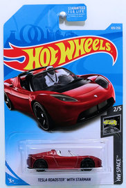 Tesla Roadster With Starman | Model Cars | HW 2019 - Collector # 109/250 - HW Space 2/5 - Tesla Roadster with Starman - Dark Red - USA Card