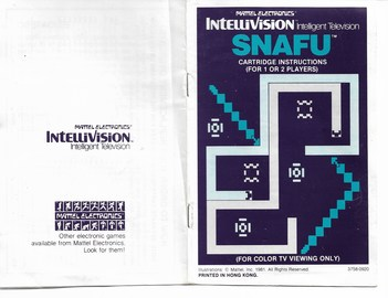 SNAFU game cartridge, instruction, 1 or 2 players & 2 controls overlays   Video Games   Instructions Front & Back