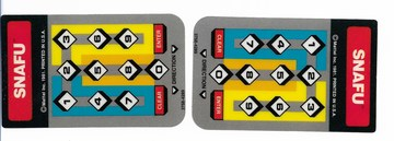 SNAFU game cartridge, instruction, 1 or 2 players & 2 controls overlays   Video Games   2 controls overlays
