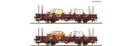 Roco - 2 Piece Set: (2) Renfe Stake Wagons & (4) Seat 127 | Model Train Sets