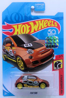 Fiat 500 | Model Cars | HW 2018 - Super Treasure Hunts - HW Daredevils 2/5 - Fiat 500 - Spectraflame Brown - Real Riders - USA 50th Card with Factory Sticker