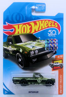 Datsun 620 | Model Trucks | HW 2018 - Super Treasure Hunt - HW Hot Trucks 4/10 - Datsun 620 - Spectraflame Olive Green - USA 50th Card & Factory Sticker