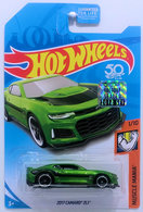 2017 Camaro ZL1 | Model Cars | HW 2018 - Super Treasure Hunts - Muscle Mania 1/10 - 2017 Camaro ZL1 - Spectraflame Green - Real Riders - USA 50th Card with Factory Sticker