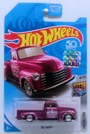 '52 Chevy | Model Trucks | HW 2018 - Super Treasure Hunts - HW Metro 4/10 - '52 CHEVY (Pickup Truck) - Spectraflame Dusty Rose - Real Riders - USA 50th Card with Factory Sticker