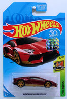 Aventador Miura Homage | Model Cars | HW 2018 - Super Treasure Hunts - HW Exotics 6/10 - Aventador Miura Homage - Metallic Red - USA 50th Card with Factory Sticker