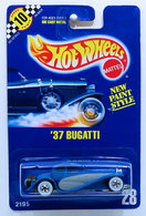'37 Bugatti | Model Cars | HW 1991 - Collector # 28 - '37 Bugatti - Blue -White Walls - USA Blue Card with Speed Points