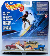 Surf's Up - Action Pack International | Model Vehicle Sets | 1999 Hot Wheels - Action Pack - Surf's Up - '40s Woodie & Classic Nomad - with Figures - International Package