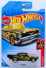 '57 Chevy   Model Cars   HW 2019 - Collector # 009/250 - HW Flames 6/10 - '57 Chevy - Black - USA Card