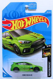 Ford Focus RS | Model Cars | HW 2019 - Collector # 139/250 - Nightburnerz 9/10 - Ford Focus RS - Green - USA Card