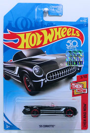 '55 Corvette | Model Cars | HW 2018 - Collector # 045/365 - Then And Now 3/10 - '55 Corvette - Black - USA 50th Card with Factory Sticker