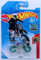 HW450F | Model Motorcycles | HW 2018 - Collectors # NONE - HW Daredevils 3/5 - HW450F (Dirt Bike) - Black & Blue - USA '50th' Card with Factory Sticker