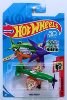 Mad Propz | Model Aircraft | HW 2018 - Collector # NONE - HW Daredevils 4/5 - Mad Propz - Green & Orange - USA '50th' Card with Factory Sticker