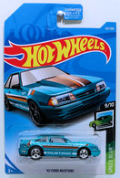 '92 Ford Mustang | Model Cars | HW 2019 - Collector # 152/250 - Speed Blur 9/10 - Super Treasure Hunts - '92 Ford Mustang - Spectraflame Teal - Real Riders - USA Card