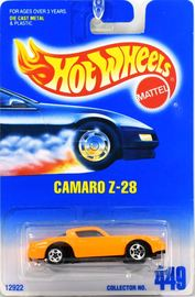 Camaro Z-28    | Model Cars | 1996 Hot Wheels #449 Camaro Z-28 Orange Reverse Base Error