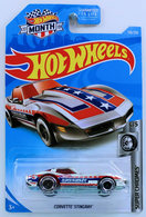 Corvette Stingray | Model Cars | HW 2019 - Collector # 159/250 - Super Chromes 5/5 - Treasure Hunts - Corvette Stingray - Chrome - USA 'Month' Card