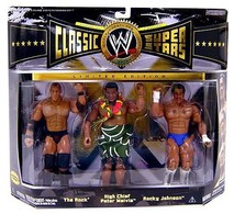 WWE Wrestling Classic Superstars The Rock, High Chief Peter Maivia, & Rocky Johnson Action Figure 3-Pack | Action Figure Sets