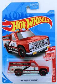 HW Rapid Responder   Model Trucks   HW 2019 - Collector # 123/250 - Red Edition 6/12 - HW Rapid Responder - Red - USA Card - Target Exclusive