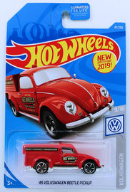 '49 Volkswagen Beetle Pickup | Model Cars | HW 2019 - Collector # 47/250 - Volkswagen 9/10 - New For 2019 - '49 Volkswagen Beetle Pickup - Red - USA Card