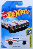 '68 Chevy Nova | Model Cars | HW 2019 - Collector # 067/250 - HW Speed Graphics 7/10 - '68 Chevy Nova - White / Gulf Racing - USA Card