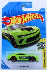 '18 Camaro SS  | Model Cars | HW 2019 - Collector # 026/250 - HW Speed Graphics 3/10 - '18 Camaro SS - Green / brembo - USA Card