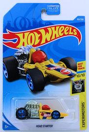 Head Starter | Model Cars | HW 2019 - Collector # 163/250 - Experimotors 10/10 - Treasure Hunts - Head Starter - Yellow - USA Card