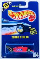 Turbo Streak    | Model Racing Cars | HW 1991 - Collector # 104 - Turbo Streak - Fluorescent Red - BW Wheels - Unpainted Rear Wing - Pink Letters on Side - USA Blue Card