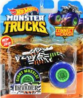 Invader | Model Trucks | 2019 Hot Wheels Monster Truck with Connect and Crash Car Invader White
