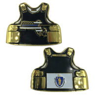 Massachusetts Thin Blue Line Police Body Armor State Flag Challenge Coins | Challenge Coins
