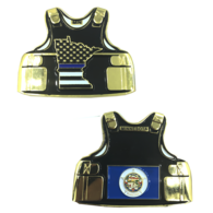 Minnesota Thin Blue Line Police Body Armor State Flag Challenge Coins | Challenge Coins