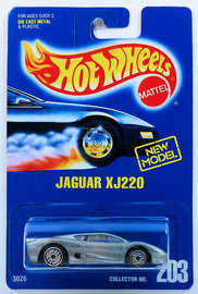Jaguar XJ220     | Model Cars | HW 1993 - Collector # 203 - Jaguar XJ220 - Silver - UH Wheels - Closed Rear Spoiler - USA Blue Card with 'NEW MODEL'