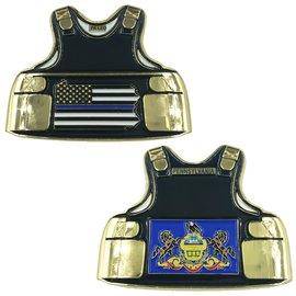 Pennsylvania Thin Blue Line Police Body Armor State Flag