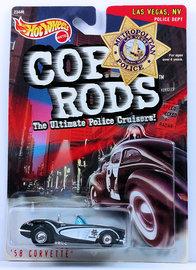 '58 Corvette   Model Cars   HW 1999 - Cop Rods # 23446 - '58 Corvette - Black & White / Las Vegas, NV Police Dept - KB Toys Exclusive