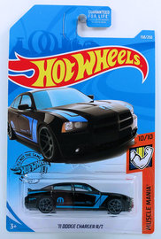 '11 Dodge Charger R/T | Model Cars | HW 2019 - Collector # 158/250 - Muscle Mania 10/10 - '11 Dodge Charger R/T - Black - USA Card