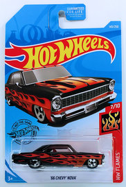 '66 Chevy Nova | Model Cars | HW 2019 - Collector # 143/250 - HW Flames 7/10 - '66 Chevy Nova - Black - USA Card