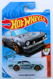 Custom Ford Maverick | Model Cars | HW 2019 - Collector # 098/250 - Muscle Mania 1/10 - Custom Ford Maverick - Metalflake Silver - USA Card