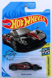 Pagani Huayra | Model Cars | HW 2019 - Collector # 148/250 - HW Speed Graphics 4/10 - Pagani Huayra - Black / Brembo - USA Card