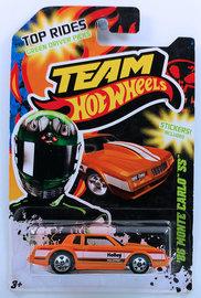 '86 Monte Carlo SS | Model Cars | HW 2012 - Toy # Y3804 - Team Hot Wheels / Green Driver - '86 MONTE CARLO SS - Orange - USA Card