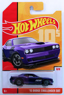 '15 Dodge Challenger SRT  | Model Cars | HW 2019 - Retro Throwback # 8/8 - '15 Dodge Challenger SRT - Purple - Basic Wheels - Target Exclusive