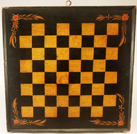 Yellow and Black Checker Board With Floral Corners | Chess Sets and Boards