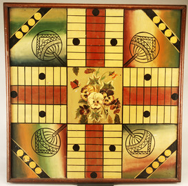 Floral Decorated Parcheesi Gameboard | Board Games