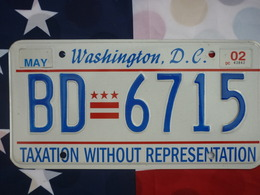Washington D.C. License Plate | License Plates | DC TAXATION EMBOSSED 2002