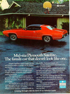 Mid-Size Plymouth Satellite. The Family Car That Doesn't Look Like One. | Print Ads