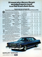 29 Reasons Why A Mercury Marquis Was Judged Superior Overall To An olds 98 And A buick electra. | Print Ads