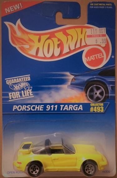 HOT WHEELS YELLOW PORSCHE 911 TARGA #493